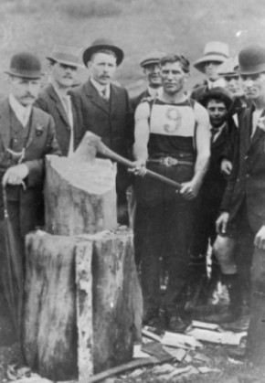 Ben Neustrowski with axe