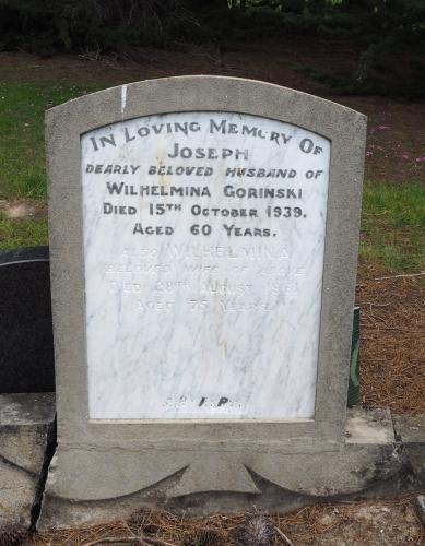 Headstone of Joseph and Wilhelmina Gorinski.