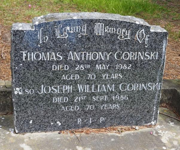 Headstone of Thomas and Joseph Gorinski.