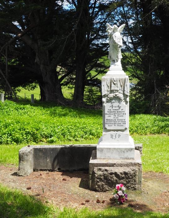 Full headstone of joseph and Rosalie Kreft.