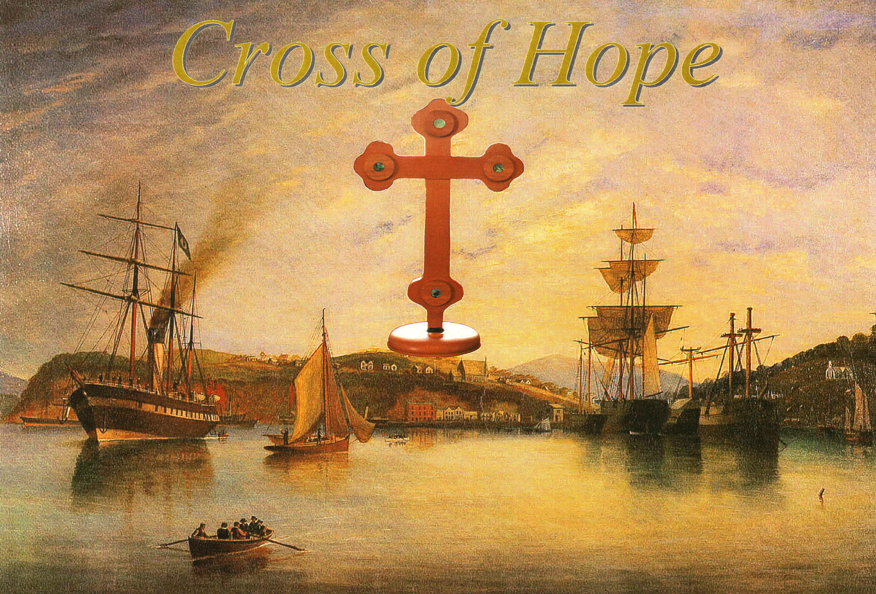 The cross  superimposed on an old photograph of Otago Harbour