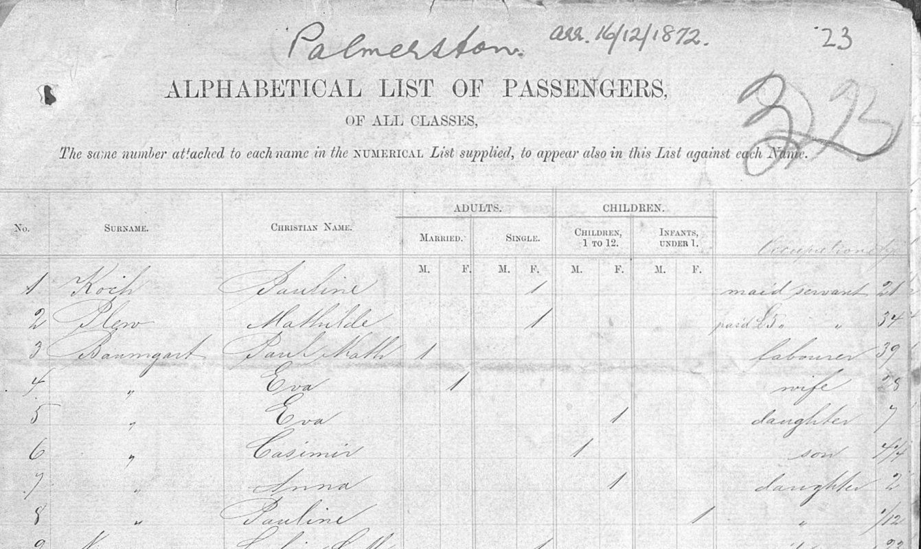 Page one of the  Palmerston's passenger list with the Baumgardt family.