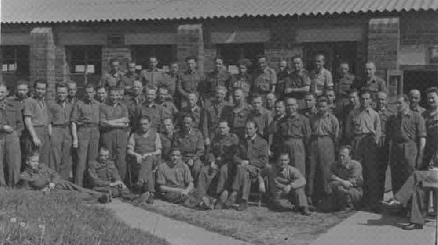 Large group of Polish soldiers outside a building at the Convalescent Invalid's Unit