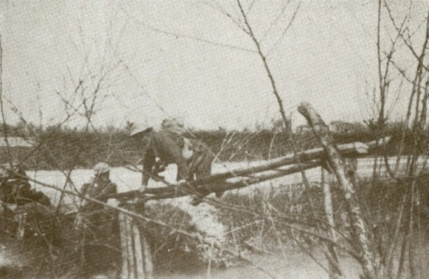 Polish  soldiers crossing the Senio River in Italy