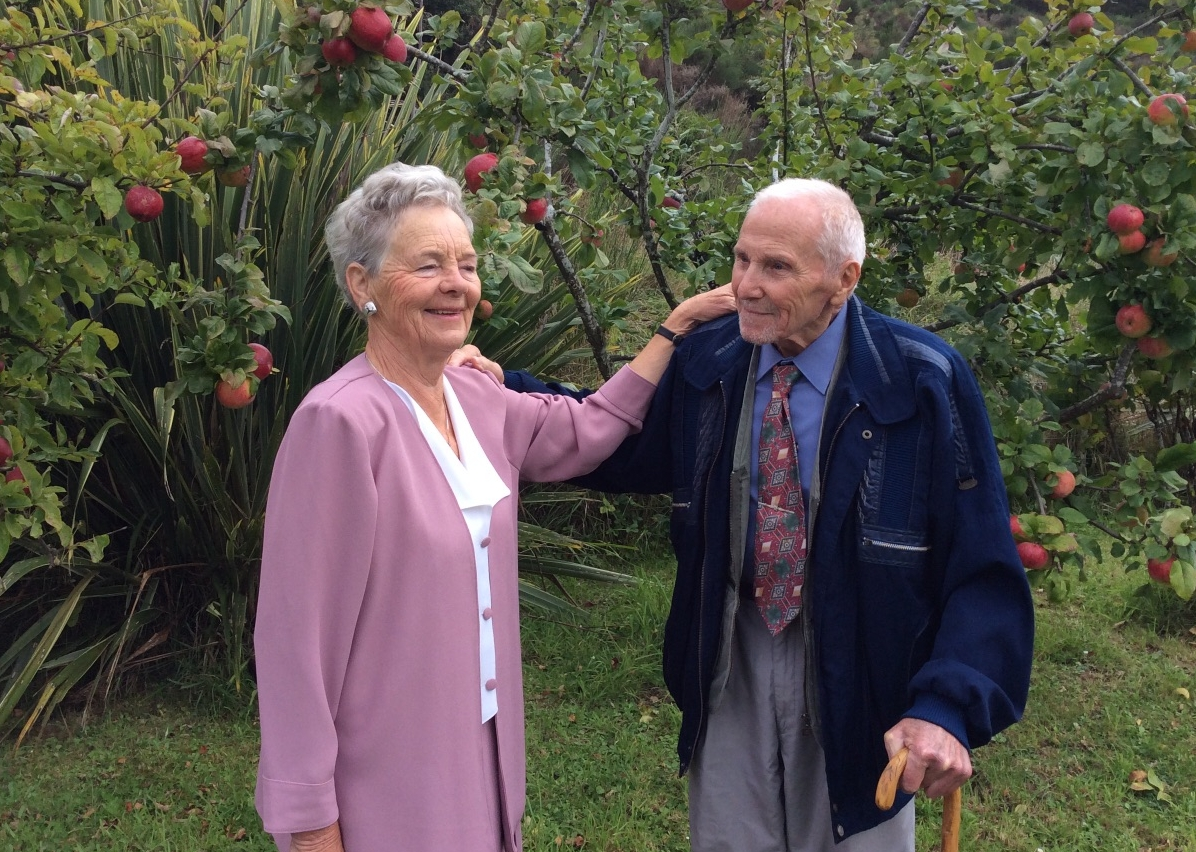 Bronek and Ela in  their orchard, 22 March 2018.