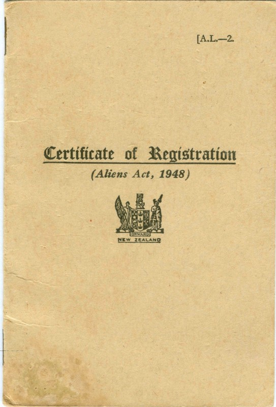 Cover page to Alien  Registration Certificate