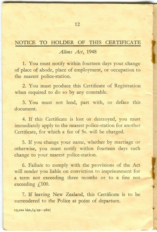 Rule page to Alien  Registration Certificate