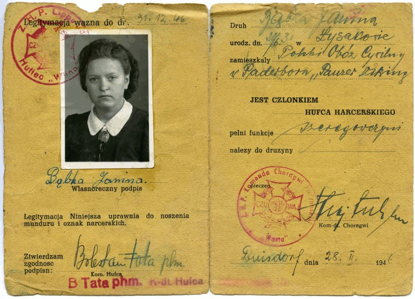 Janina  Bąbka's scout book's inner page