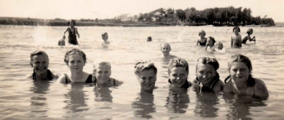 Some  of the Pahiatua girls swimming in the Mangatainoka rive.r