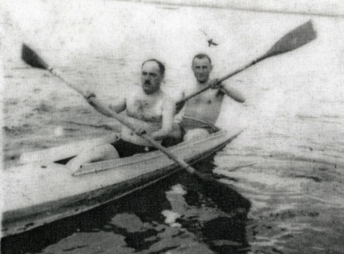 Stanislaw Jarka  and friend in canoe