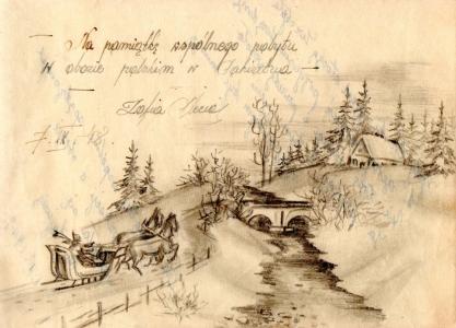 Drawing of a Polish  wintery scene