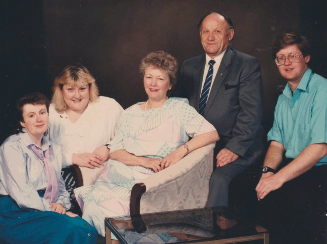 Studio photograph  of Jan and Stella Jarka with their children 1987.