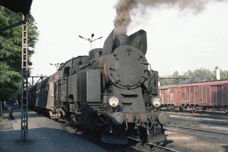 Steam train on Nowy Sacz  platform
