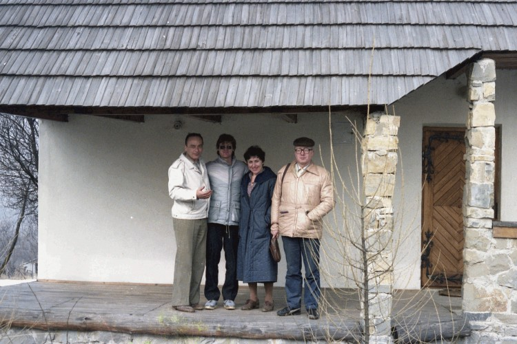Michael with the  Wozniak family outside their summer house