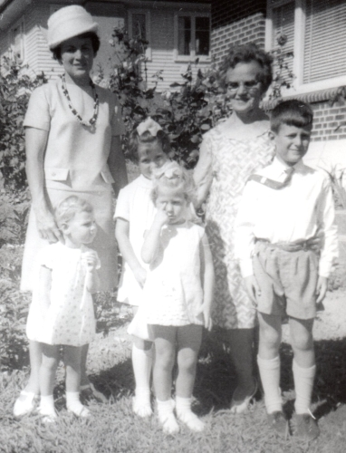 Marysia with babcia Dobrowolska and her four children
