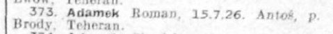 Blurry  image of the name of Roman Adamek on the Red Cross list.