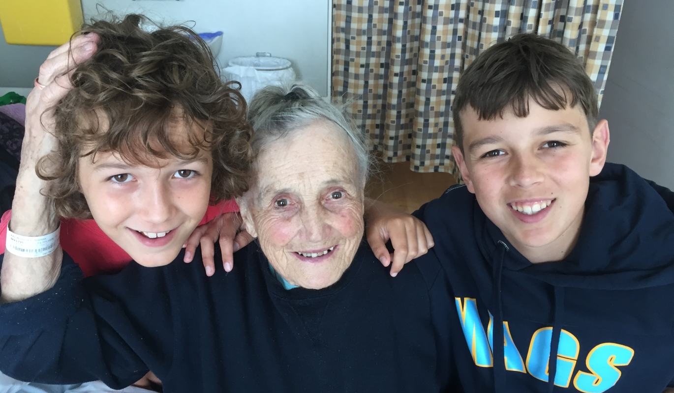 Joanna with   her grandsons, close-up pic taken in hospital.