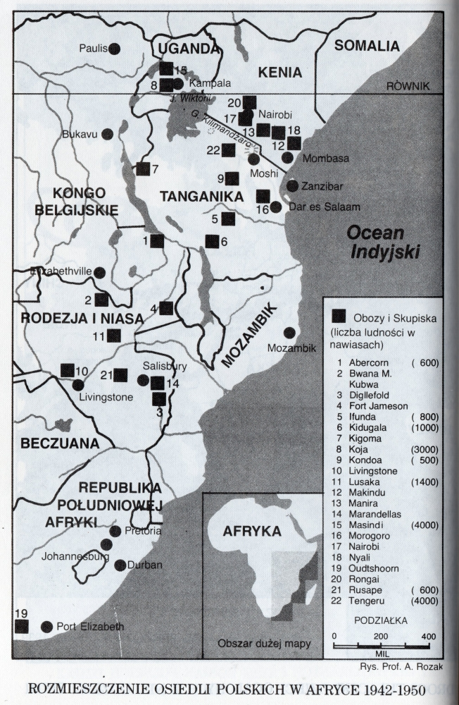 Stylised map of  eastern and southern Africa showing the 22 camps
