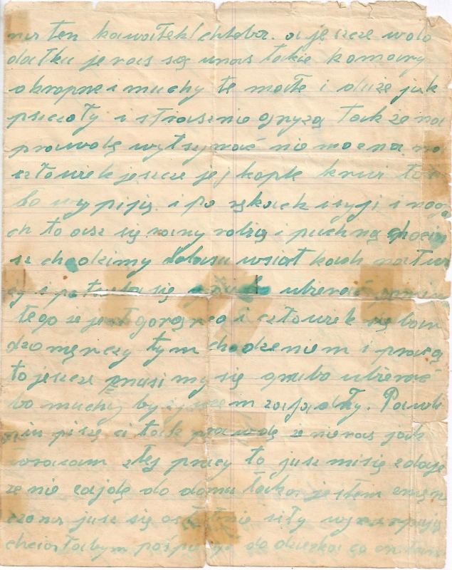 Page three of  Bronisława's last letter, yellowed, tape marks along the folds, simple handwriting.