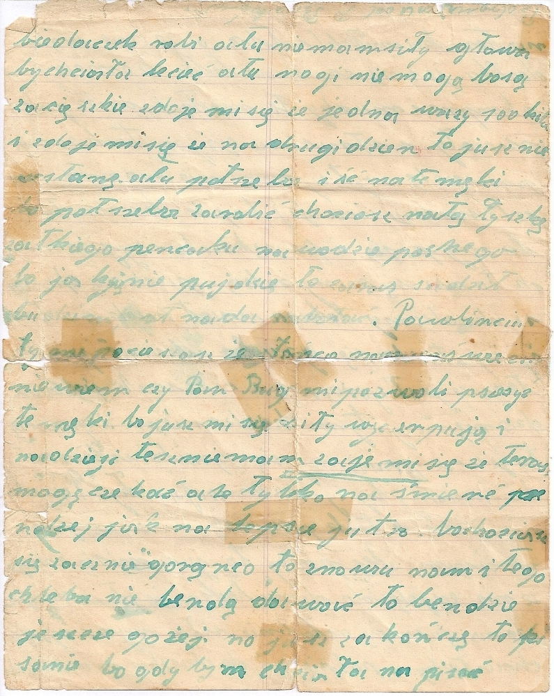 Page four of  Bronisława's last letter, same condition as previous page, ends abruptly at end of page.