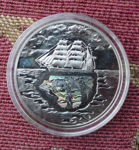 The ship side of the  commemorative coin