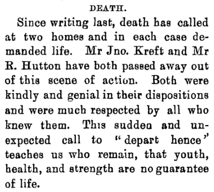 A section of the  article on John Kreft's death