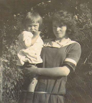 Lillian Ryan  holding her baby sister, Myra.