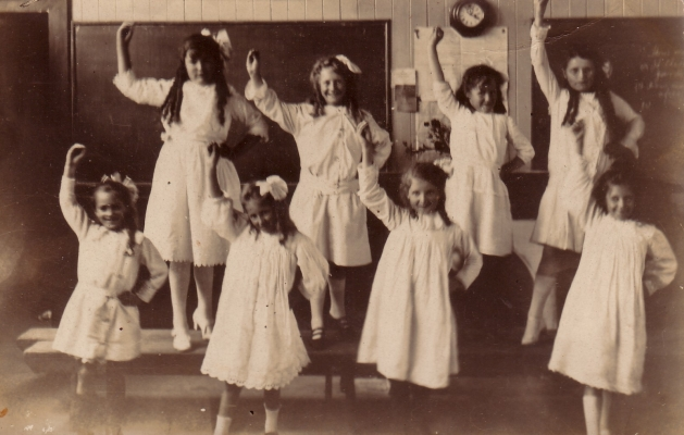 Unidentified York Road School girls dancing.