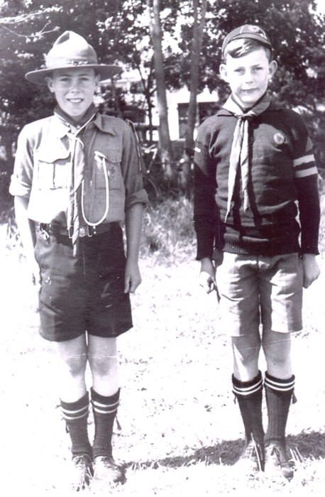 Arnie  and Ernie Rule in scout uniform