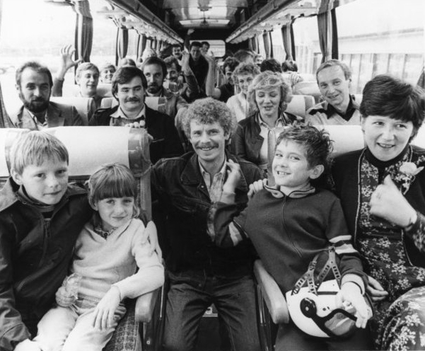 Group of Poles in a  bus