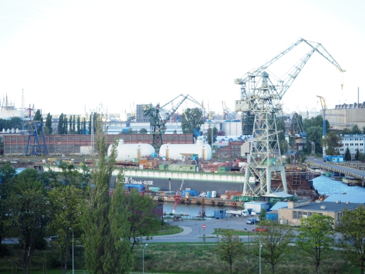 The Gdańsk shipyard  and surroundings taken from the Solidarity Mueum rooftop