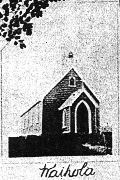 Grainy black and white  postcard photograph of the St Hyacinth Catholic Church in Waihola