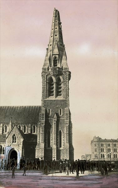 1888 image of Christchurch cathedral with its missing spire