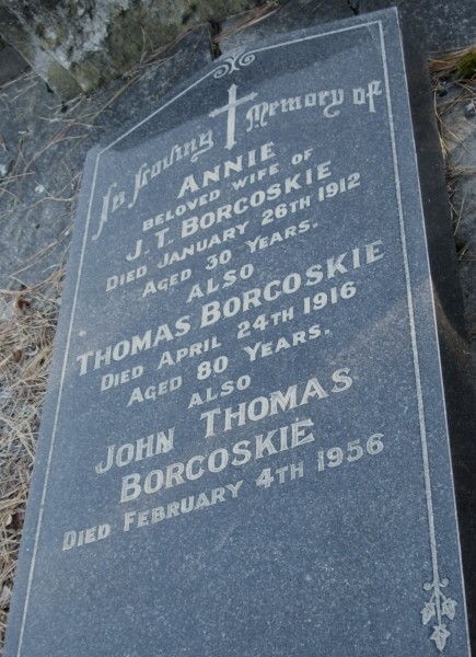 Headstone   of Thomas Borkoskie, his son, John Thomas and John Thomas's wife, Annie