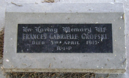 Cemetery  plaque for Frances Gabrielle Grofski
