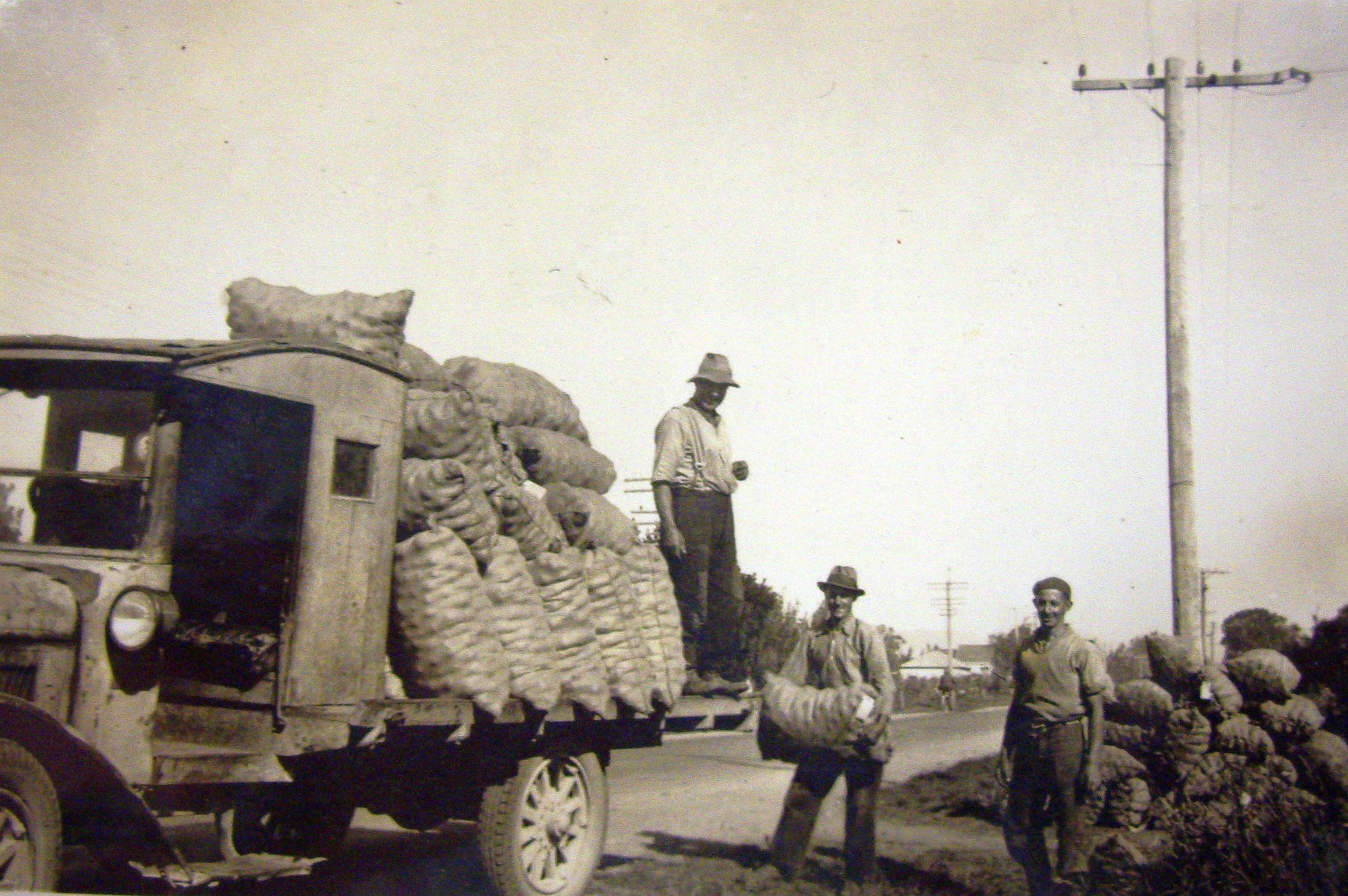 Three men  load a truck with bags of onions.