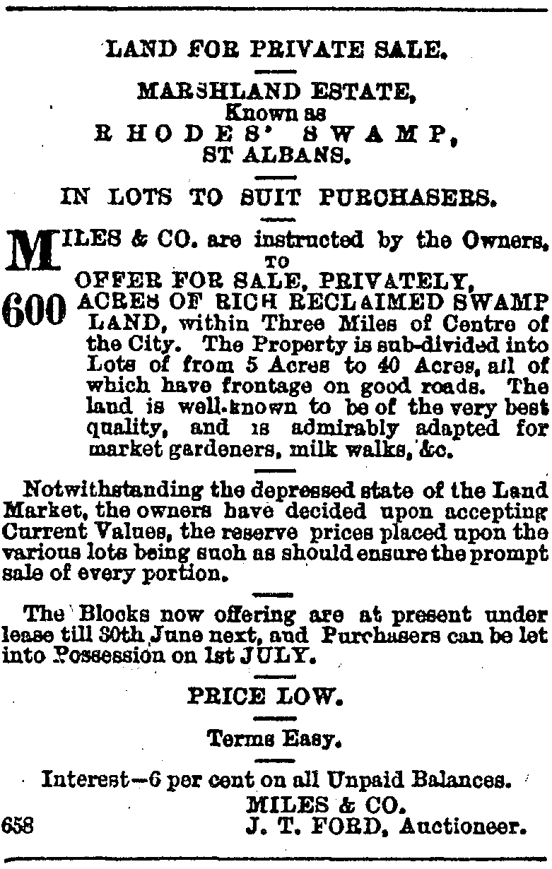 Advertisement for Rhodes Swamp, 8 May 1886