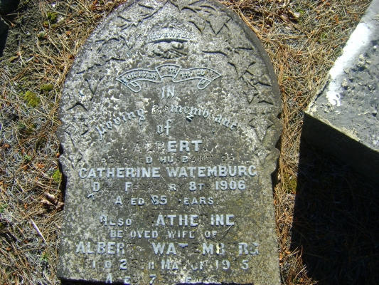 Headstone of  Albert and Catherine Watemburg
