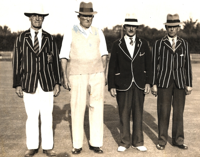 JA Orlowski  with three others at the St Clair bowling club