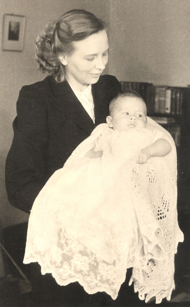 Madeline with  her son, Brian, at his Christening