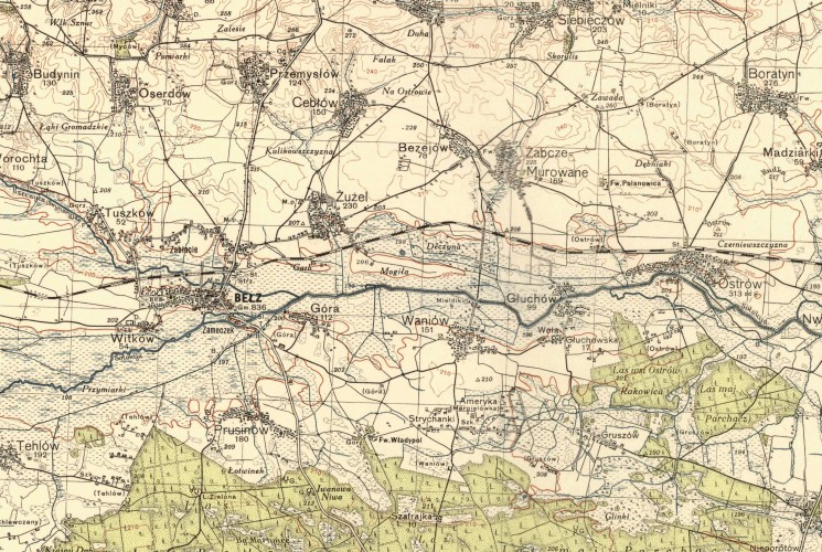 1936  map of Waniów and Bełz district