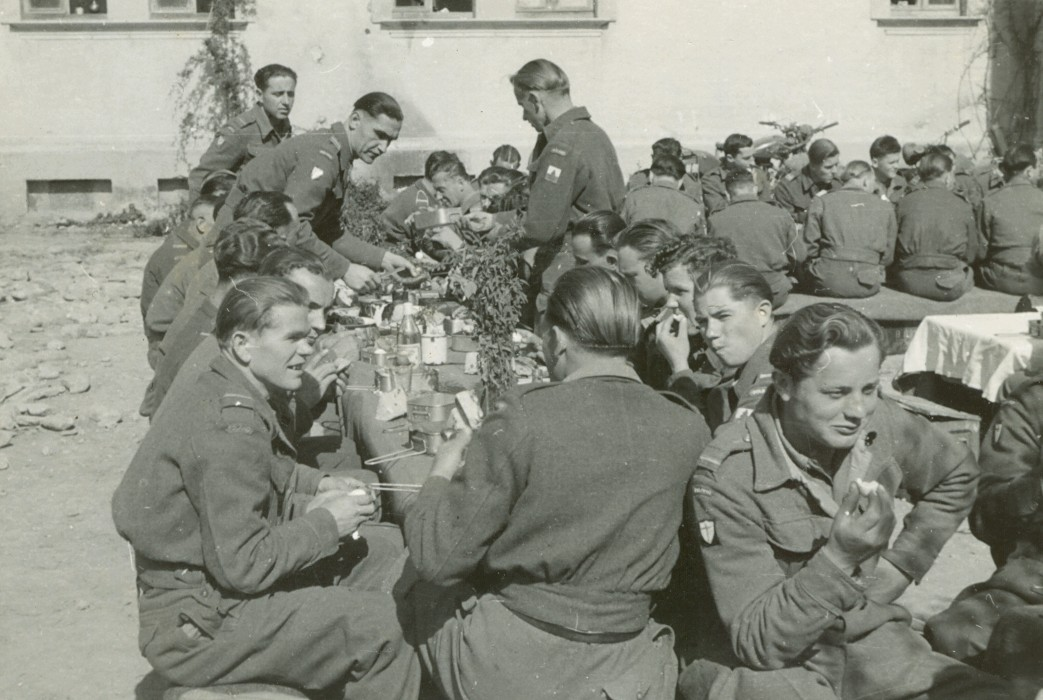 Polish soldiers easting Easter breakfast 1945