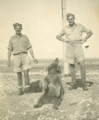 Two Polish soldiers with Wojtek the bear