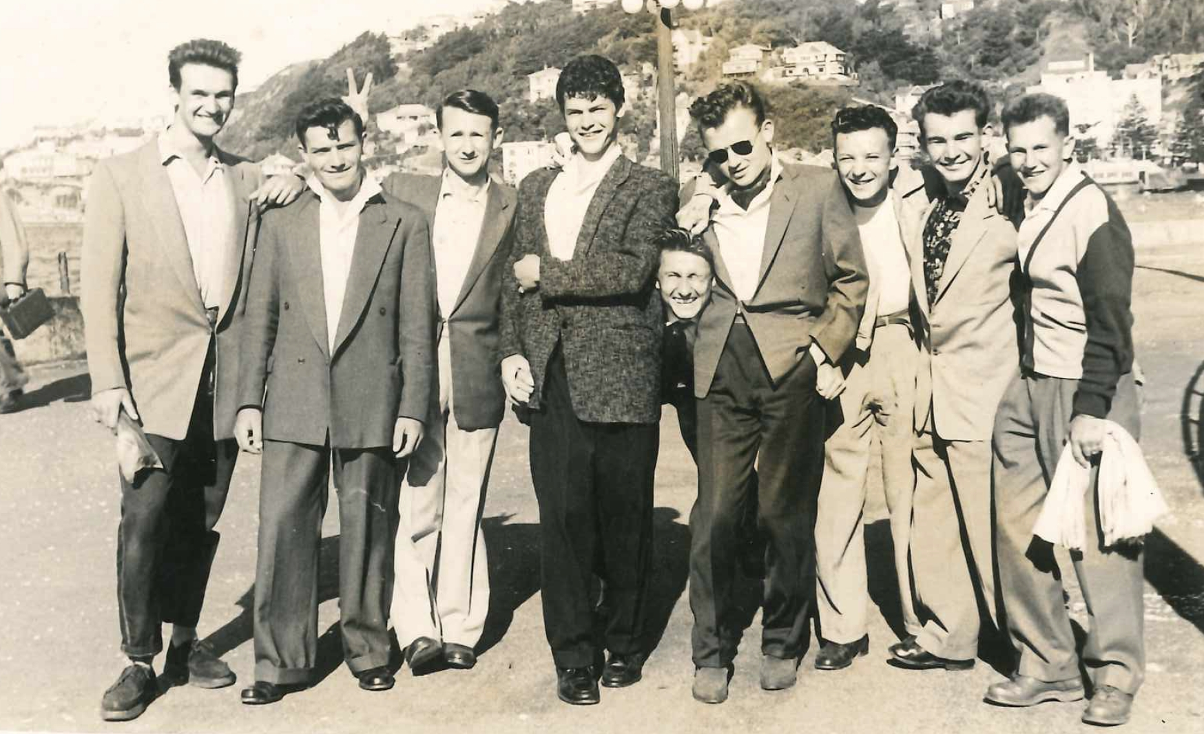 A cheerful group of    young Polish men