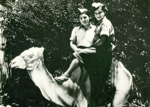 Celina and Urszula  Gawronek on a camel in Egypt