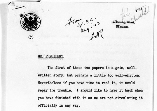 Front half-page of Curchill's letter to FDR