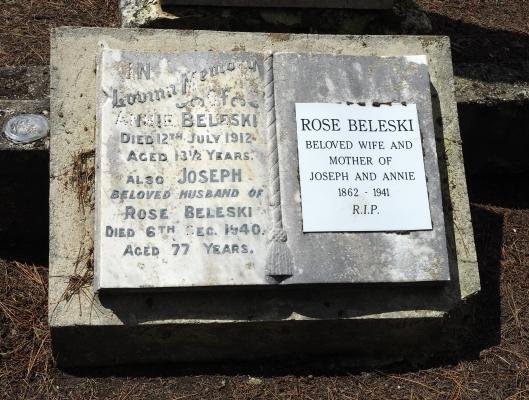 Headstone of  Joseph and Rose Beleski and their daughter Annie.