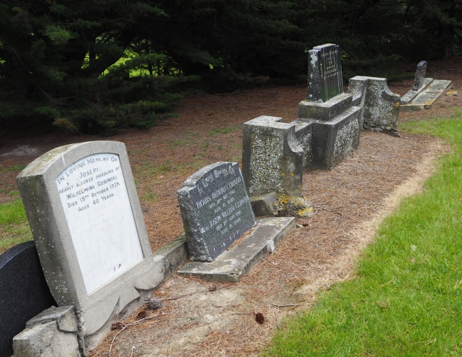 Row of headstones, beginning with Joseph and Wilhelmina Gorinski.