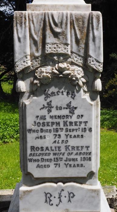 Headstone of Joseph and Rosalie Kreft.