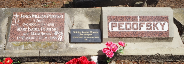 Wide shot of  three Pedofski plaques, James and Mary, Shirley Holmes and a general Pedofsky plaque.
